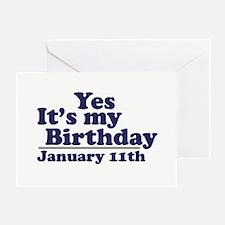 January 11th Birthday Greeting Card