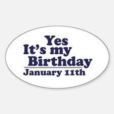 January 11th Birthday Oval Decal