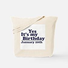 January 10th Birthday Tote Bag