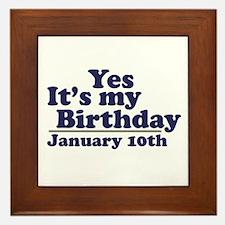 January 10th Birthday Framed Tile