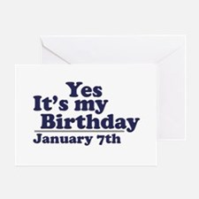 January 7th Birthday Greeting Card