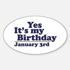 January 3rd Birthday Oval Decal