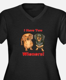 Two Wieners Women's Plus Size V-Neck Dark T-Shirt