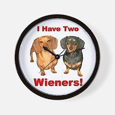 Two Wieners Wall Clock