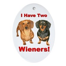 Two Wieners Oval Ornament