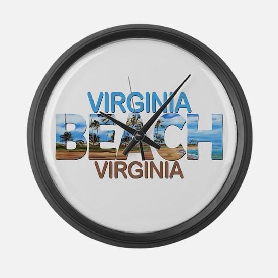 Summer virginia beach- virginia Large Wall Clock