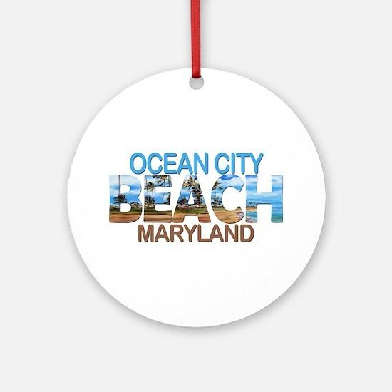 Summer ocean city- maryland Round Ornament