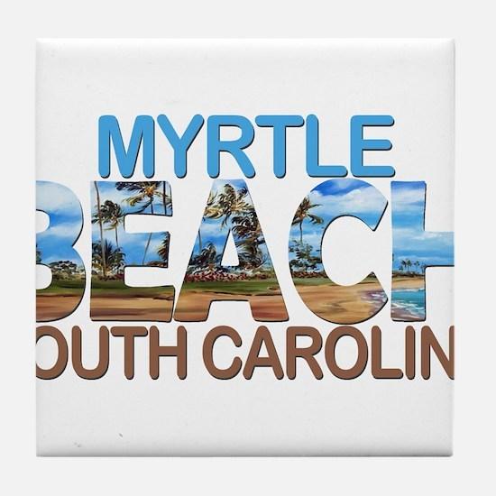 Summer myrtle beach- south carolina Tile Coaster