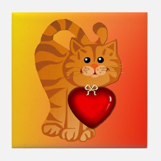 Heart Kitty Tile Coaster