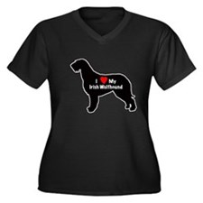 Irish Wolfhound Heart Women's Plus Size V-Neck Dar