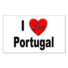 I Love Portugal Rectangle Decal