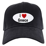 I Love Greece Black Cap