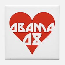 OBAMA 08 RETRO RED HEART Tile Coaster
