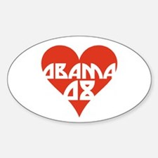 OBAMA 08 RETRO RED HEART Oval Decal
