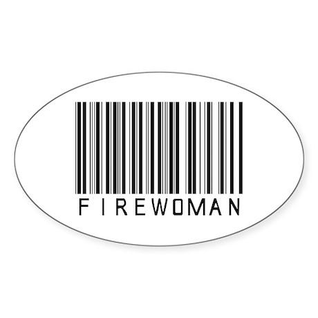 Firewoman Barcode Oval Sticker
