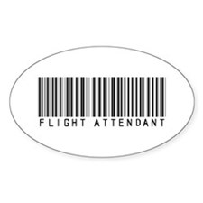 Flight Attendant Barcode Oval Bumper Stickers