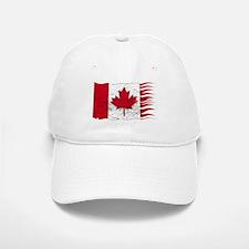 Wavy Canadian Flag Grunged Baseball Baseball Cap
