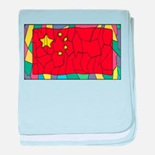 Chinese Flag On Stained Glass Window baby blanket