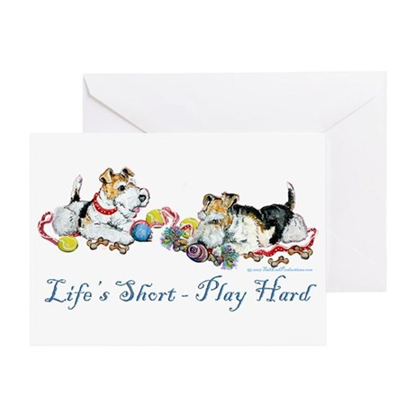 Fox Terriers Dog Play Greeting Card
