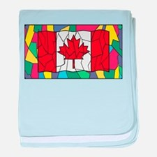 Canadian Flag On Stained Glass Window baby blanket