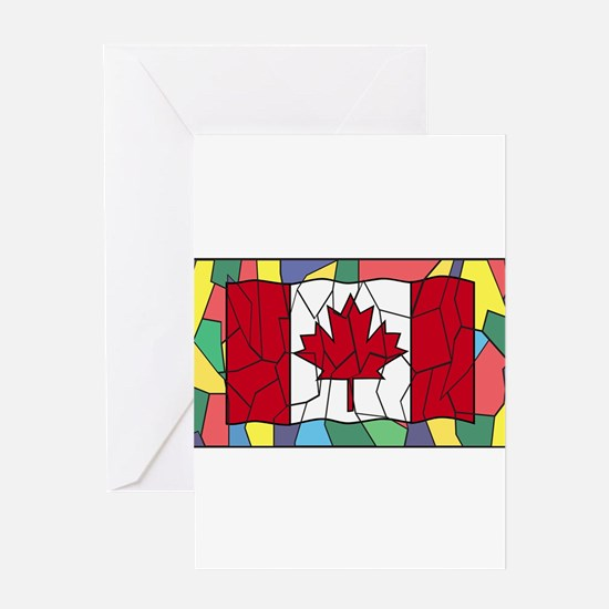 Canadian Flag On Stained Glass Wind Greeting Cards
