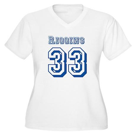 Riggins 33 Jersey Women's Plus Size V-Neck T-Shirt