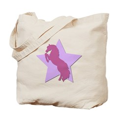 Pink Purple Horse Star Tote Bag