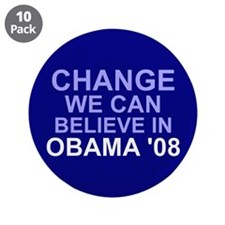 """Blue Change We Can Believe In 3.5"""" Button (10 pack"""