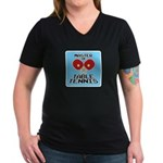 Table Tennis - Women's V-Neck Dark T-Shirt