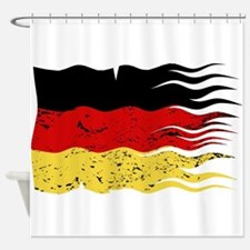 Wavy German Flag Grunged Shower Curtain