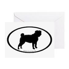 Pug Oval Greeting Card