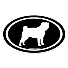 Pug Oval (white on black) Oval Decal