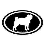 Pug Oval (white on black) Oval Sticker