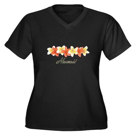 Plumeria Band Women's Plus Size V-Neck Dark T-Shir