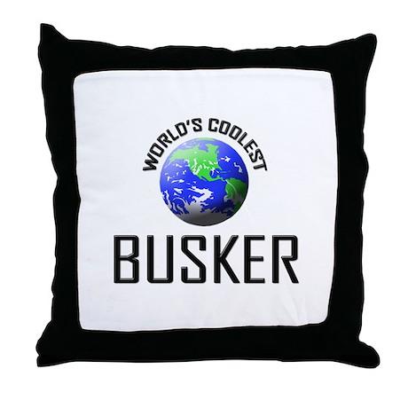 World's Coolest BUSKER Throw Pillow