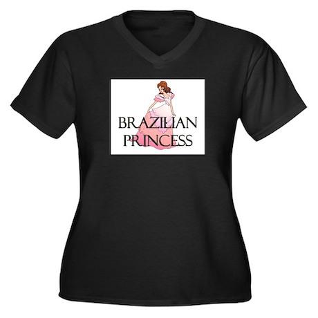 Brazilian Princess Women's Plus Size V-Neck Dark T