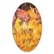 Deer in the Reed Oval Decal