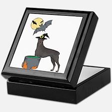 Doberman Witch Halloween Keepsake Box