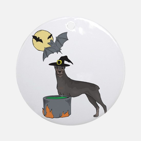 Doberman Witch Halloween Ornament (Round)