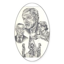 Pres Bush art Oval Decal