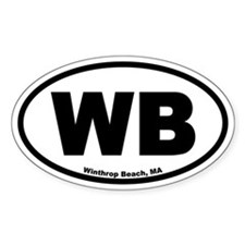 "Winthrop Beach, MA ""WB"" Euro Style Oval Decal"