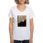 Whistler's Mother Maltese Women's V-Neck T-Shirt