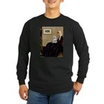 Whistler's Mother Maltese Long Sleeve Dark T-Shirt