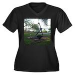 anchor Women's Plus Size V-Neck Dark T-Shirt