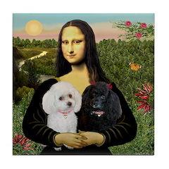 Mona & 2 Poodles Tile Coaster