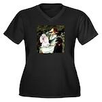 Ophelia / Poodle pair Women's Plus Size V-Neck Dar