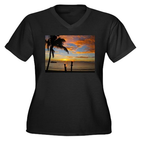 Fiji sunset Women's Plus Size V-Neck Dark T-Shirt