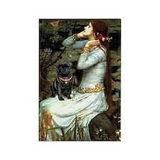 Ophelia (2) & Black Pug Rectangle Magnet