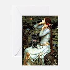 Ophelia (2) & Black Pug Greeting Card
