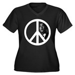 Obama - Peace Sign Women's Plus Size V-Neck Dark T